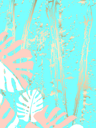 Foto für Tropical Worn Floral pastel gold pattern with monstera palm leaves for wallpaper, textile, flooring, interior design, wedding invitation, fashion banners. Trendy print for your design made in vector - Lizenzfreies Bild