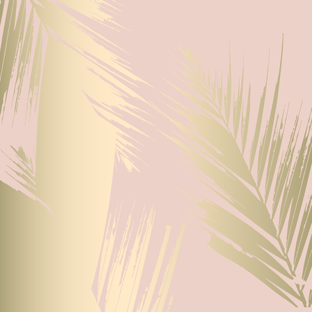 Ilustración de Autumn abstract foliage rose gold blush background. Chic trendy print with botanical motifs - Imagen libre de derechos