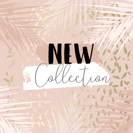 Illustration pour Autumn collection trendy chic gold blush background for social media, advertising, banner, invitation card, wedding, fashion header - image libre de droit