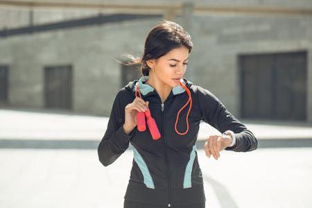 Photo pour Young woman active exercise workout on street outdoor - image libre de droit