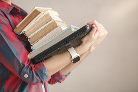 Photo for Young woman with books studio portrait education - Royalty Free Image