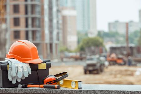 Foto de Building construction engineering tools work objects isolated - Imagen libre de derechos