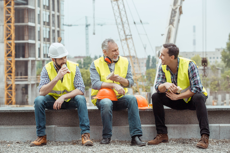 Photo for Male work building construction engineering occupation eating sandwiches - Royalty Free Image