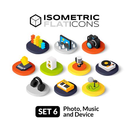 Illustration pour Isometric flat icons, 3D pictograms vector set 6 - Photo music and device symbol collection - image libre de droit