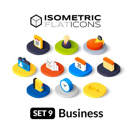 Ilustración de Isometric flat icons, 3D pictograms vector set 9 - Business symbol collection - Imagen libre de derechos