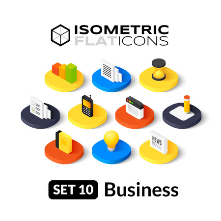 Ilustración de Isometric flat icons, 3D pictograms vector set 10 - Business symbol collection - Imagen libre de derechos