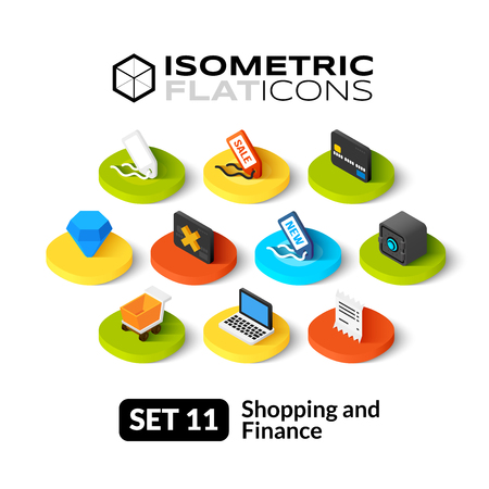 Ilustración de Isometric flat icons, 3D pictograms vector set 11 - Shopping and finance symbol collection - Imagen libre de derechos