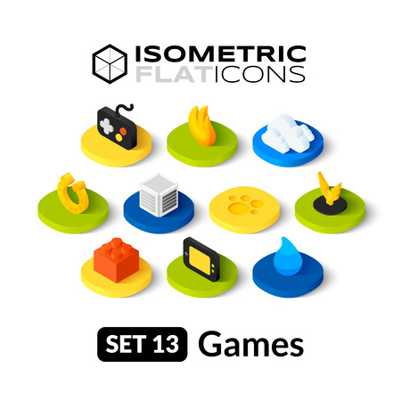 Illustration pour Isometric flat icons, 3D pictograms vector set 13 - Games symbol collection - image libre de droit