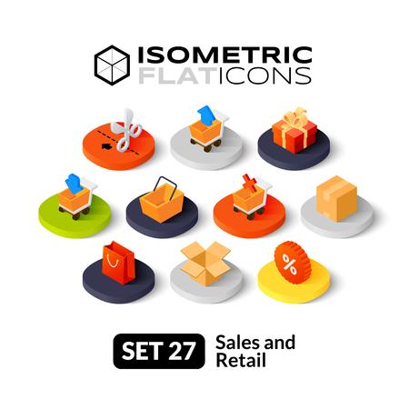 Illustration pour Isometric flat icons, 3D pictograms vector set 27 - Sales and retail symbol collection - image libre de droit