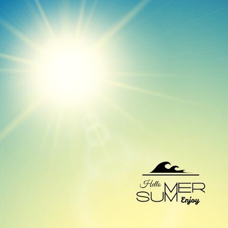Illustration pour Summer background with a summer sun burst with lens flare, green sunset vector illustration - image libre de droit