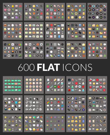 Illustration pour Large icons set, 600 vector pictogram of flat colored isolated on gray background - image libre de droit