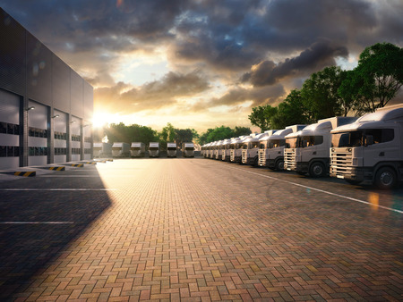 Photo pour Truck in parking. Freight. evening tone - image libre de droit