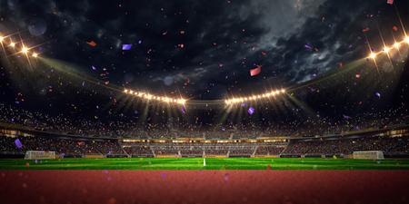 Photo pour Night stadium arena soccer field championship win. Confetti and tinsel - image libre de droit