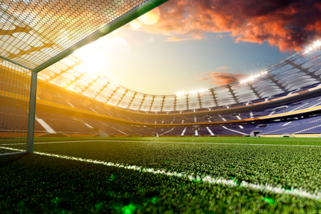 Photo pour Empty soccer stadium in sunlight 3d render - image libre de droit