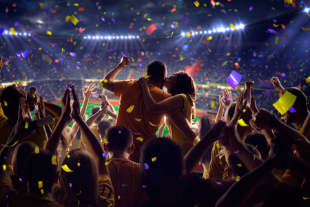 Photo for Fans on stadium soccer game Confetti and tinsel - Royalty Free Image