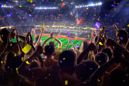 Photo pour Fans on stadium soccer game Confetti and tinsel - image libre de droit