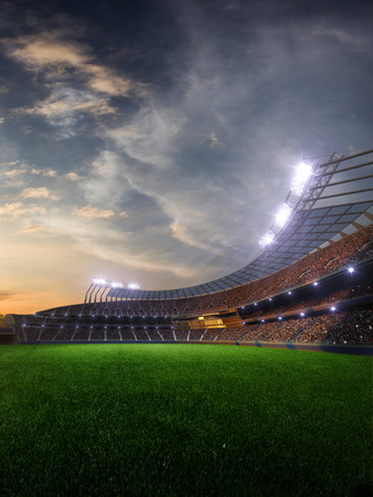 Photo for stadium sunset  with people fans. 3d render illustration cloudy sky - Royalty Free Image