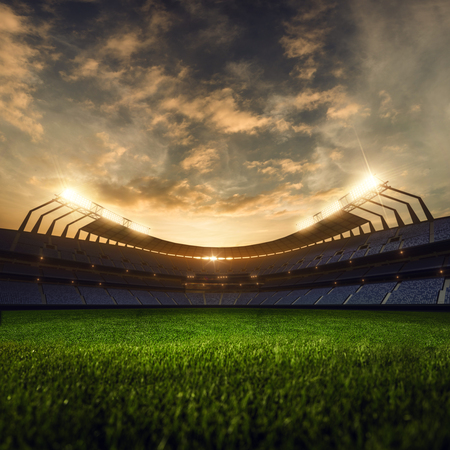 Photo pour 3d render emptry stadium evening without people - image libre de droit