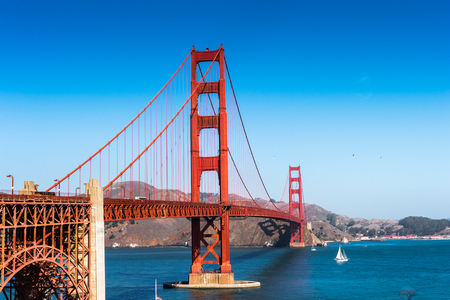 Photo pour Golden Gate Bridge  between San Francisco Bay and the Pacific Ocean, San Francisco, California, United States of America - image libre de droit
