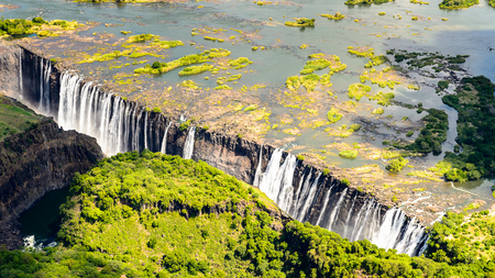 Foto de Amazing air view  of the Victoria Falls, Zambia and Zimbabwe. - Imagen libre de derechos