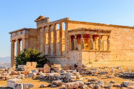 Photo pour Erechtheion or Erechtheum, A Greek temple dedicated to both Athena and Poseidon. Acropolis of Athens. UNESCO World Hetiage site. - image libre de droit
