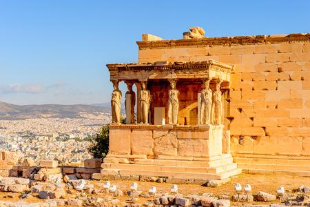 Photo pour Erechtheion or Erechtheum, A Greek temple dedicated to both Athena and Poseidon. Acropolis of Athens. - image libre de droit