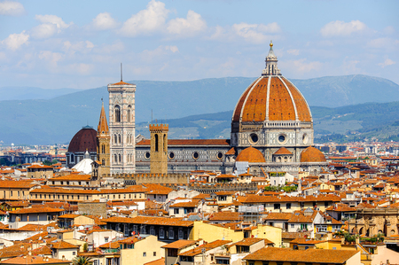 Photo for Cathedral of Santa Maria del Fiore in Tuscany, Florence, Italy. View from the Michelangelo Square - Royalty Free Image