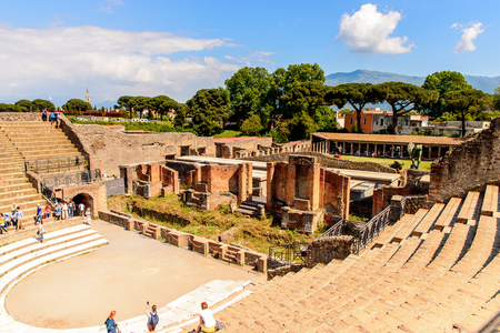 Photo for RUins of Pompeii, an ancient Roman town destroyed by the volcano Vesuvius. - Royalty Free Image