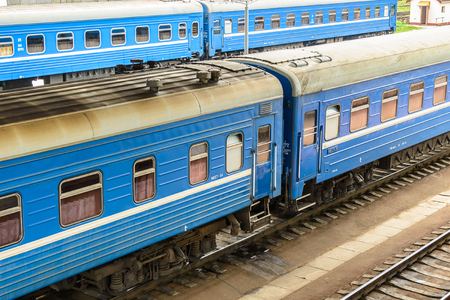 Foto per BREST, BELARUS - AUG 30, 2014: Train at the Central Railway station in Brest, Belarus. Brest railway station was found in 1886 - Immagine Royalty Free