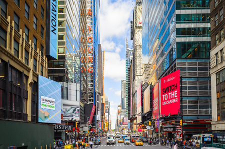 Foto für NEW YORK, USA - OCT 7, 2015: Architecture and traffic of Times Square, a major commercial neighborhood in Midtown Manhattan, New York City - Lizenzfreies Bild