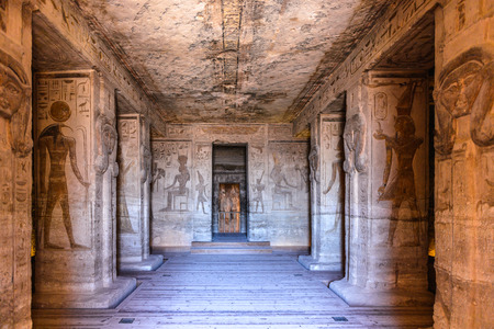 Photo for ABU SIMBEL, EGYPT - DEC 3, 2014: Interior of The Great Temple of Ramesses II on the sunrise, Abu Simbel, Egypt. One of the main sights of Egypt - Royalty Free Image