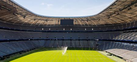 Foto de MUNICH, GERMANY - AUG 15, 2017: Allianz Arena, a football stadium with a 75,000 seating capacity,  a home for FC Bayern M. - Imagen libre de derechos