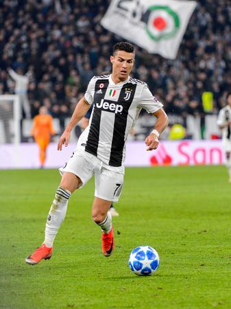 Photo for Turin - Nov 7, 2018:  Cristiano Ronaldo 7 controls the ball on speed. Juventus - Manchester United. UEFA Champions League. Matchday 4. Allianz stadium. - Royalty Free Image