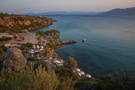 Photo for Landscape with sea bay on island of Aegina in Saronic Gulf in Greece - Royalty Free Image