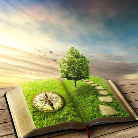 Photo pour Illustration of magic opened book covered with grass, compass, tree and stoned way on woody floor, balcony. Fantasy world, imaginary view. Book, tree of life, right way concept. Original screensaver. - image libre de droit