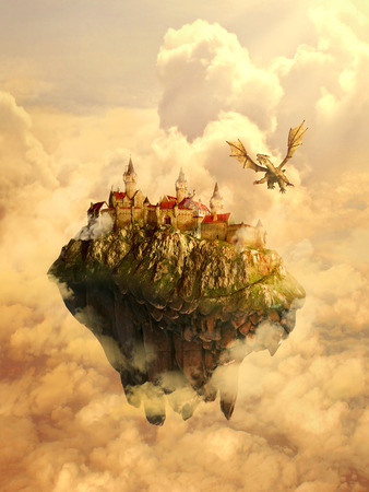 Photo for Illustration of isolated dreamland, mystique place, home, castle of a beautiful princess invaded, protected by scary dragon. Original screensaver. Fairytale, mythic story concept. - Royalty Free Image