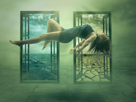 Photo pour Levitation portrait young woman in her house. Lady floating girl flying in apartment room. Astral travel meditation mystical rapture state psychokinesis condition. Magic energy show human Illusion - image libre de droit