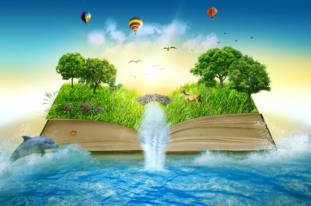 Photo pour Illustration of magic opened book covered with grass trees and waterfall surround by ocean. Fantasy world, imaginary view. Book, tree of life concept. Original beautiful screen saver - image libre de droit