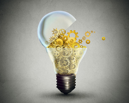 Photo pour Creative technology and communication concept as an open door light bulb transferring gears and cogs.Business metaphor for downloading or uploading innovation solutions. - image libre de droit