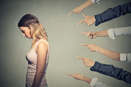 Photo for Concept of accusation guilty person girl.  - Royalty Free Image