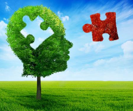 Foto de Puzzle head brain mental health symbol concept. - Imagen libre de derechos