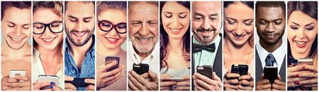 Photo for Happy people using mobile smart phone - Royalty Free Image