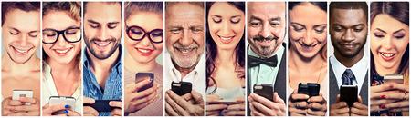 Photo pour Happy people using mobile smart phone - image libre de droit