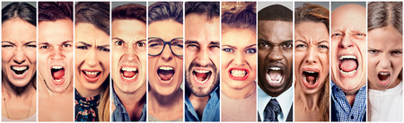 Photo pour Angry people screaming. Group of men women frustrated shouting - image libre de droit