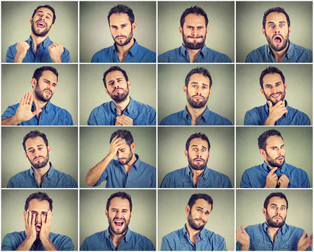 Collage of a young man expressing different emotions