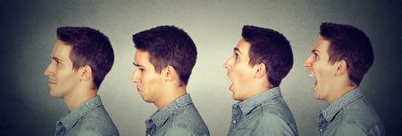 Photo pour Mood swing. Man with different emotions face expressions  - image libre de droit
