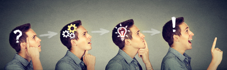 Foto de Emotional intelligence. Side view sequence of a man thoughtful, thinking, finding solution with gear mechanism, question, exclamation, lightbulb symbols. Human face expression - Imagen libre de derechos