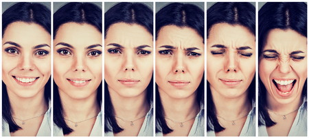 Foto de Young woman changing mood from being happy to getting upset and angry - Imagen libre de derechos