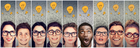 Photo for Group of young people men and women with many ideas light bulbs above head looking up. - Royalty Free Image