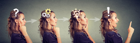 Foto de Emotional intelligence. Side view sequence of a woman thoughtful, thinking, finding solution with gear mechanism, question, exclamation, lightbulb symbols. Human face expression - Imagen libre de derechos